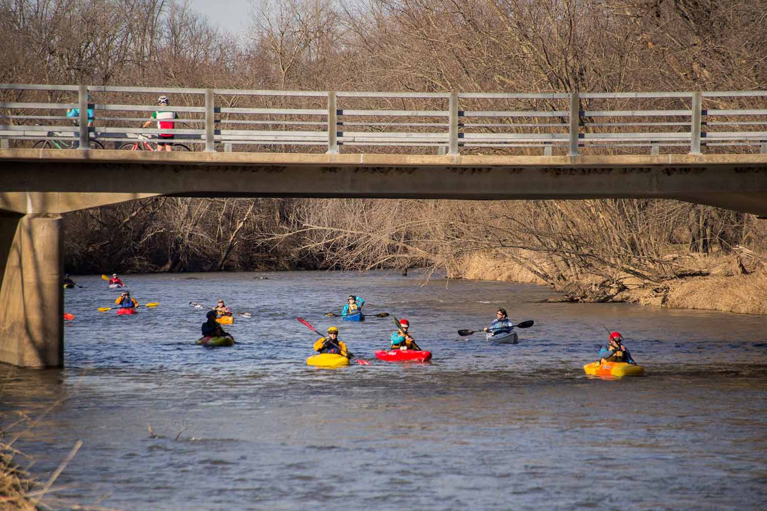 Kayakers enjoying the Baraboo River